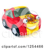 Clipart Of A 3d Spanish Flag Porsche Car Character 4 Royalty Free Illustration by Julos