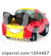 Clipart Of A 3d Spanish Flag Porsche Car Character Wearing Sunglasses Royalty Free Illustration