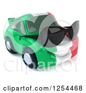 Clipart Of A 3d Italian Flag Porsche Car Character Wearing Sunglasses 2 Royalty Free Illustration