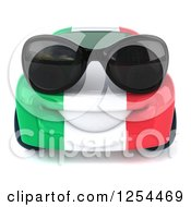 Clipart Of A 3d Italian Flag Porsche Car Character Wearing Sunglasses Royalty Free Illustration