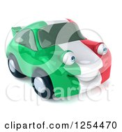 Clipart Of A 3d Italian Flag Porsche Car Character Royalty Free Illustration