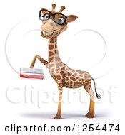 Clipart Of A 3d Bespectacled Giraffe Reading A Book 2 Royalty Free Illustration