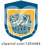 Clipart Of A Retro Woodcut Basket Of Fruit And Bread In A Blue And Yellow Shield Royalty Free Vector Illustration