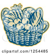 Clipart Of A Retro Woodcut Basket Of Fruit And Bread Royalty Free Vector Illustration