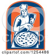 Clipart Of A Retro Woodcut Chef With A Pizza On A Peel In A Blue And Orange Shield Royalty Free Vector Illustration