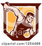 Clipart Of A Retro Woodcut Male Discus Thrower In An Orange And Brown Shield Royalty Free Vector Illustration