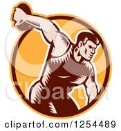 Clipart Of A Retro Woodcut Male Discus Thrower In An Orange And Brown Circle Royalty Free Vector Illustration