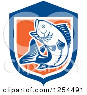 Clipart Of A Retro Woodcut Largemouth Bass Fish Jumping In A Blue And Orange Shield Royalty Free Vector Illustration by patrimonio