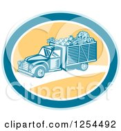 Clipart Of A Retro Woodcut Produce Delivery Truck In A Yellow And Blue Oval Royalty Free Vector Illustration