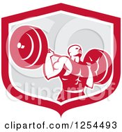 Clipart Of A Retro Male Bodybuilder Squatting With A Barbell In A Red And Gray Shield Royalty Free Vector Illustration