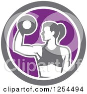 Clipart Of A Fit Woman Doing Bicep Curls With A Dumbbell In A White Purple And Gray Circle Royalty Free Vector Illustration