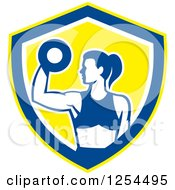 Clipart Of A Fit Woman Doing Bicep Curls With A Dumbbell In A White Blue And Yellow Shield Royalty Free Vector Illustration