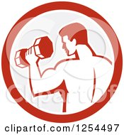 Clipart Of A Retro Bodybuilder Doing Bicep Curls With A Dumbbell In A Gray And Red Circle Royalty Free Vector Illustration