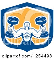 Clipart Of A Retro Buff Bodybuilder Lifting Heavy Weights In A Blue And Yellow Shield Royalty Free Vector Illustration