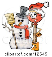 Sink Plunger Mascot Cartoon Character With A Snowman On Christmas by Toons4Biz