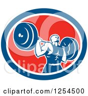 Clipart Of A Retro Male Bodybuilder Squatting With A Barbell In A Red White And Blue Oval Royalty Free Vector Illustration