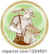 Clipart Of A Retro Male Farmer Carrying A Harvest Bushel Bucket And Rake In A Brown And Green Circle Royalty Free Vector Illustration