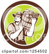 Clipart Of A Retro Male Farmer Carrying A Harvest Bushel Bucket In A Brown And Green Circle Royalty Free Vector Illustration