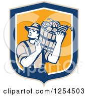 Retro Male Farmer Carrying A Harvest Bushel Bucket In A Blue And Orange Shield