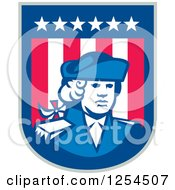 Clipart Of A Retro American Patriot Soldier In A Shield Royalty Free Vector Illustration by patrimonio