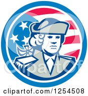 Clipart Of A Retro American Patriot Soldier In A Circle Royalty Free Vector Illustration