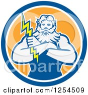 Clipart Of A Retro Zeus Holding A Thunder Bolt In A Blue And Orange Circle Royalty Free Vector Illustration by patrimonio