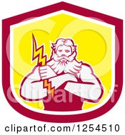 Clipart Of A Retro Zeus Holding A Thunder Bolt In A Red And Yellow Shield Royalty Free Vector Illustration