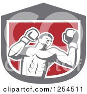 Clipart Of A Retro Male Boxer In A Gray White And Red Shield Royalty Free Vector Illustration