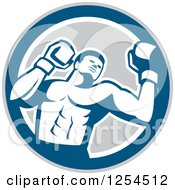 Retro Male Boxer In A Blue Gray And White Circle