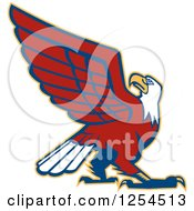 Clipart Of A Retro Bald Eagle Royalty Free Vector Illustration