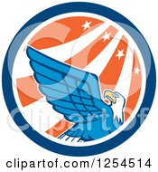 Clipart Of A Retro Bald Eagle In A Star And Stripes Circle Royalty Free Vector Illustration
