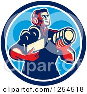 Clipart Of A Retro Cameraman Holding His Camera In A Circle Royalty Free Vector Illustration