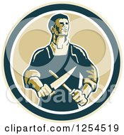 Clipart Of A Retro Male Butcher Sharpening A Knife In A Circle Royalty Free Vector Illustration