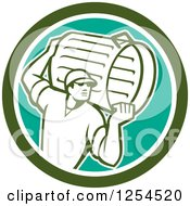 Retro Male Garbage Man Carrying A Can In A Green Circle