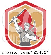 Retro Male Coal Miner Holding A Pickaxe And Red Flag In A Shield