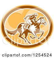 Clipart Of A Retro Jockey Racing A Horse In A Brown And Orange Oval Royalty Free Vector Illustration