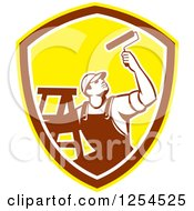 Poster, Art Print Of Retro Male Painter With A Ladder And Roller Brush In A Brown And Yellow Shield