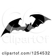 Clipart Of A Black And White Flying Vampire Bat Royalty Free Vector Illustration