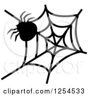 Clipart Of A Black And White Spider And Web Royalty Free Vector Illustration