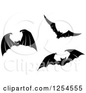 Clipart Of Black And White Flying Vampire Bats Royalty Free Vector Illustration