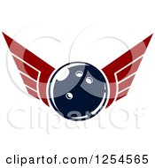Clipart Of A Retro Winged Bowling Ball Royalty Free Vector Illustration by Vector Tradition SM