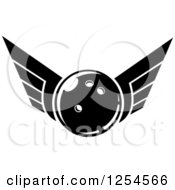 Clipart Of A Black And White Retro Winged Bowling Ball Royalty Free Vector Illustration