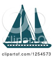 Clipart Of A Blue Yacht Royalty Free Vector Illustration