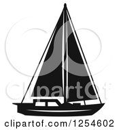 Clipart Of A Black And White Sailboat Royalty Free Vector Illustration