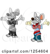 Clipart Of Happy Mice Royalty Free Vector Illustration
