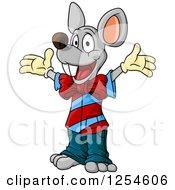 Clipart Of A Happy Mouse Royalty Free Vector Illustration