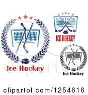 Clipart Of Ice Hockey Sticks And Pucks Over Goals And Text Royalty Free Vector Illustration