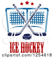 Clipart Of Ice Hockey Sticks And A Puck Over A Goal And Text Royalty Free Vector Illustration