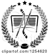 Clipart Of Black And White Ice Hockey Sticks And A Puck Over A Goal In A Laurel Wreath Royalty Free Vector Illustration