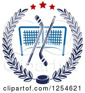 Clipart Of Ice Hockey Sticks And A Puck Over A Goal In A Laurel Wreath Royalty Free Vector Illustration